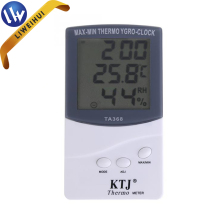 Indoor thermometer hygrometer wall clock thermometer hygrometer MAX-MIN thermometer hygrometer with clock display TA368