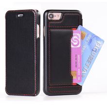 Wholesale Hot Selling Magnetic Flip Mobile Leather Case with Credit Card Slot for Iphone 7