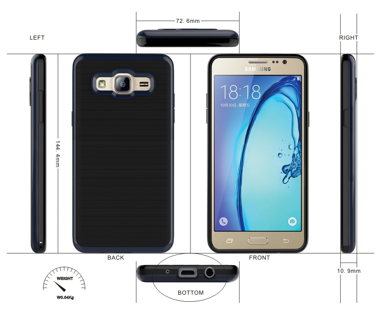 Wholesale Cell Phone Accessories 2 In 1 Armor Back Cover Case For Samsung Galaxy on5