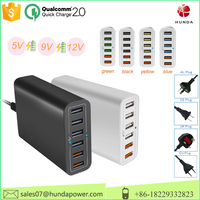 Hongda Shun Poatable Qualcomm certified QC 2.0 Multi Port usb Charger 60W quick charge 2.0