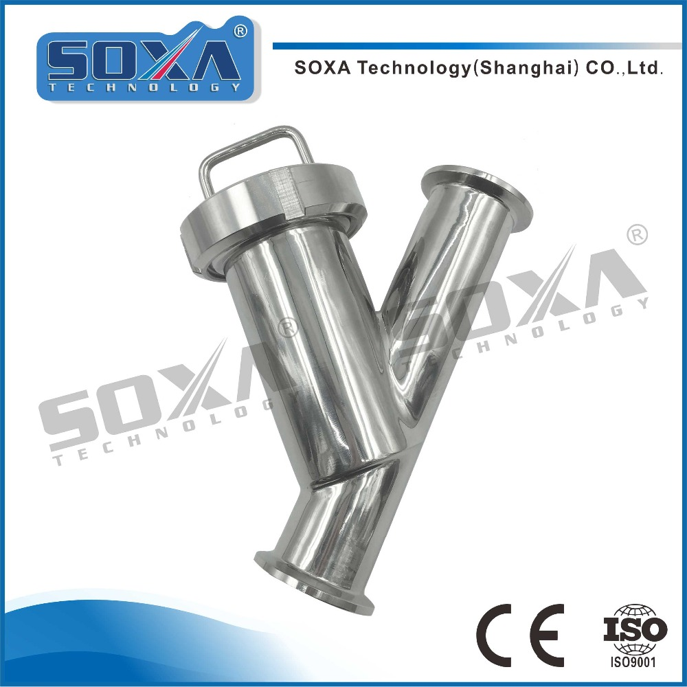 Food grade 304 stainless steel SMS/DIN/ISO/IDF Y type clamped strainer