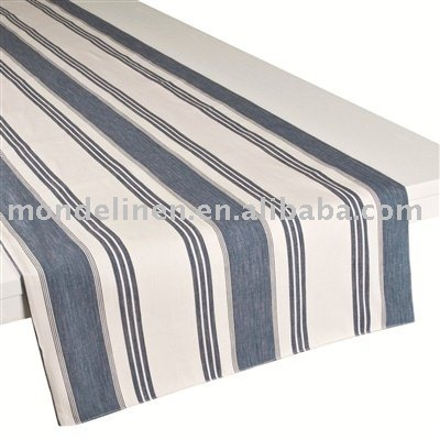 Yarn dyed striped linen table runners