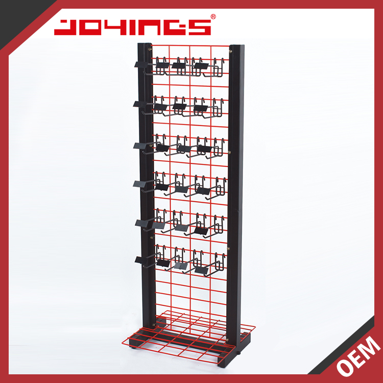 Retail Store Floor Standing Black & Red Color Stickers Display Rack