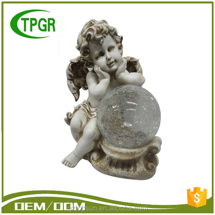Polyresin Raw Material Figurines Cherub Angel Sculpture With Glass Ball For Home and Garden