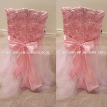 Fancy Tutu Design Wedding Rosette Pink Chair Covers