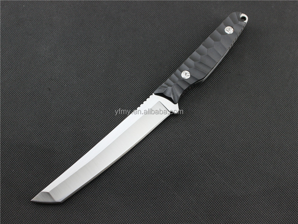 OEM New arrival Fixed blade knife D2 60HRC Satin blade outdoor camping hiking hunting knives with ABS K sheath