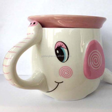 3D cute smiley face ceramic elephant Funny Shaped Mugs with lid for coming Christmas promotion