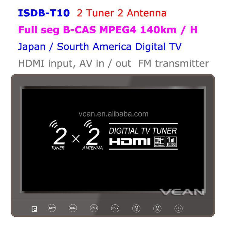 ISDB-T10 _2 Tuner 2 Antenna 10.1 Inch Full Seg Digital TV Receiver For Japan
