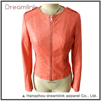 Fall fashion wear red casual leather jacket for wholesale
