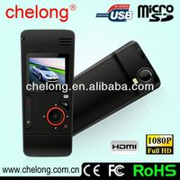 1.5 Inch 1080P waterproof 16x digital zoom car dvr 2 camera gps