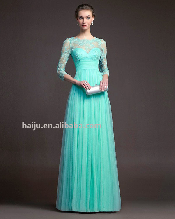 Europe new style ready made elegant long sleeve lace splice hollow lady evening dress