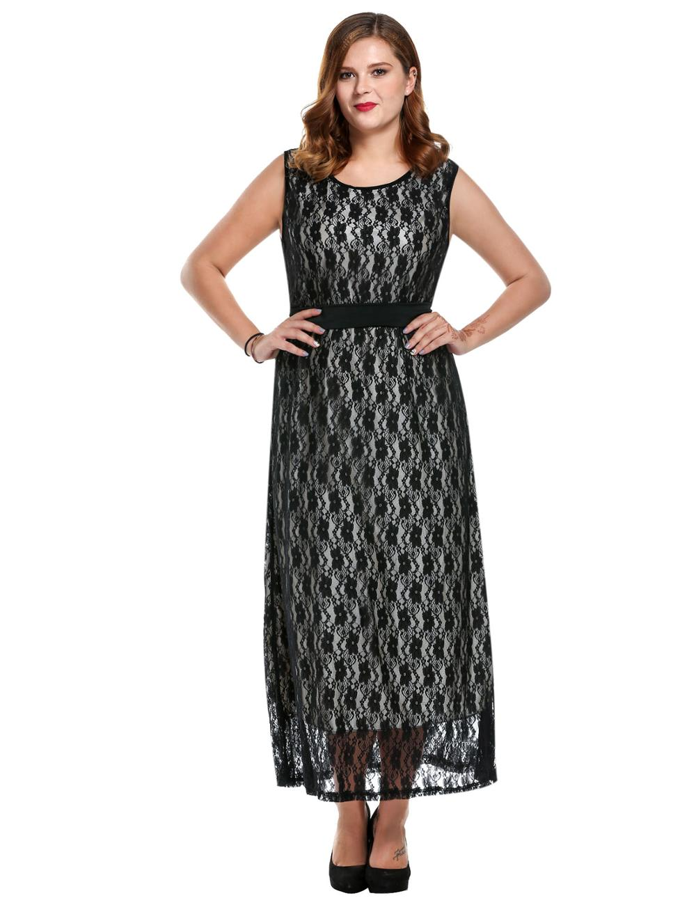 Women Plus Sizes Round Neck Sleeveless High Waist Belted Floral Lace Maxi Dress AMH005761