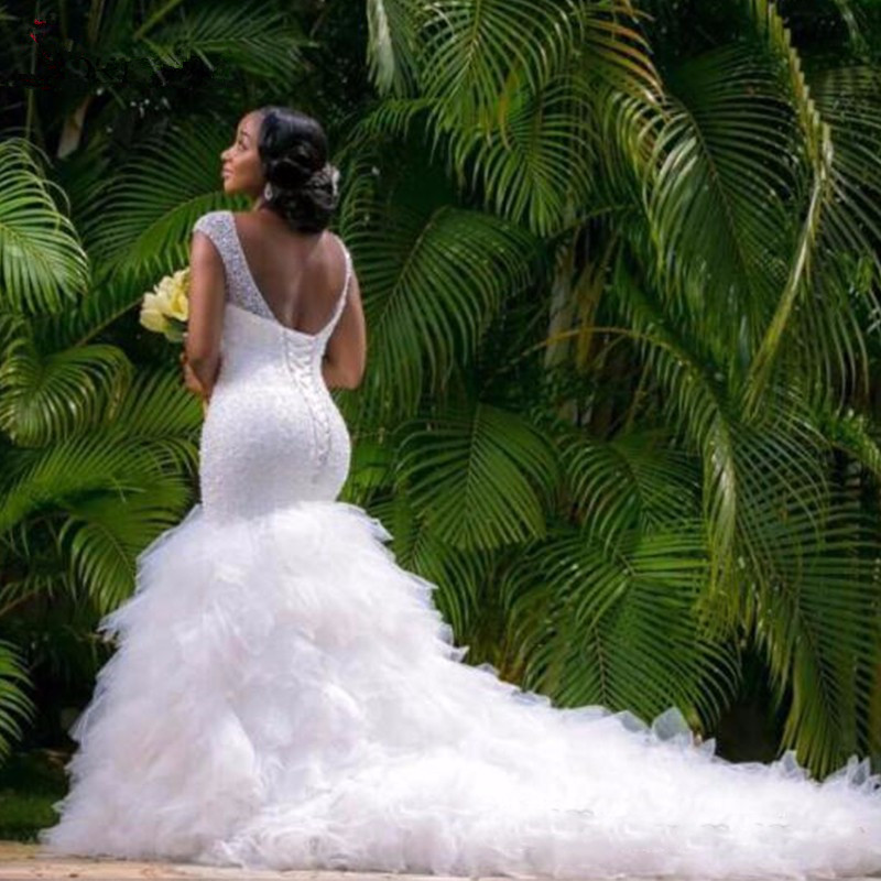 African Custom Made Formal Bridal Gowns Designs Lace Beading Mermaid Alibaba Wedding Dresses