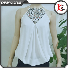 2017 wholesale womens clothing latest chiffon tops white sexy halter blouse designs