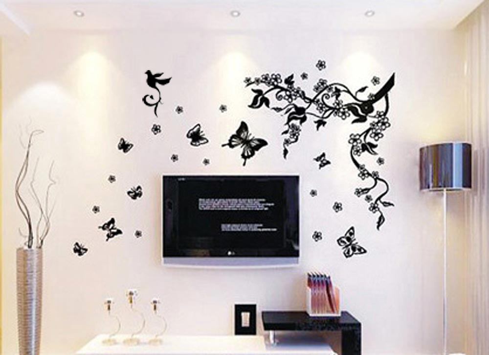Butterflies Flowers Removable Transparent Wall Stickers Home/Room Decors Mural Art Decals Adhesive Decoration