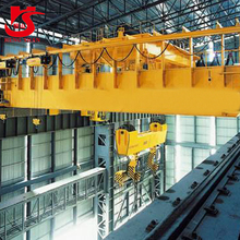 Double girder magnet overhead crane for lifting steel plate