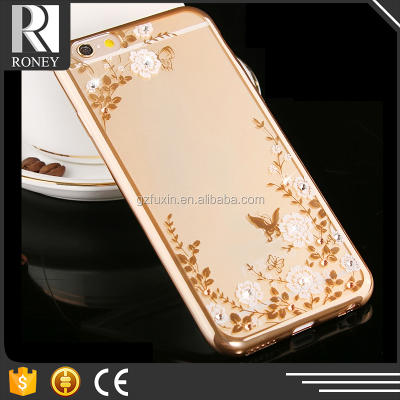 Secret Garden Phone Transparent Electroplate TPU Accessories Case For iphone5 5S With Flowers Diamond