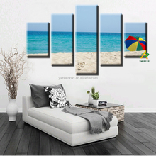 Quiet beach seascape canvas Prints wall Painting beach umbrella Digital Printed Painting picture art