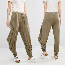 Euramerican drawstring waistband concealed fly ladies baggy pants