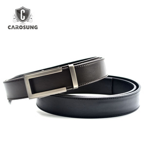 Vegetable Tanned Leather Ratchet Automatic Buckle Adjustable Full Grain Leather Belt Men Without Holes
