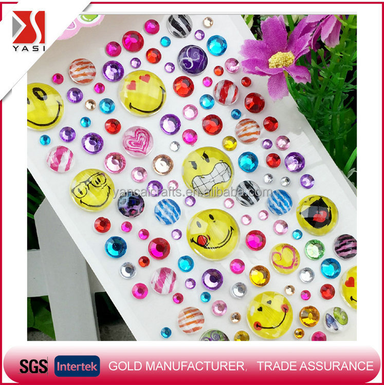 New china products for sale cartoon acrylic sticker/cartoon rhinestone sticker