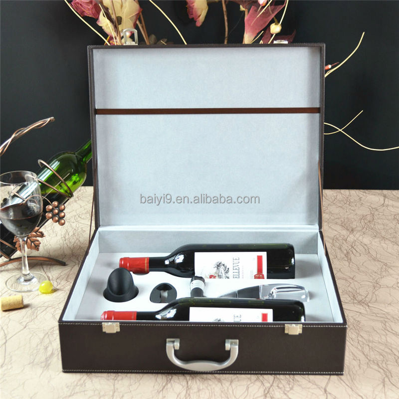 Hot sale 2 bottles leather wine carry case with wine accessories