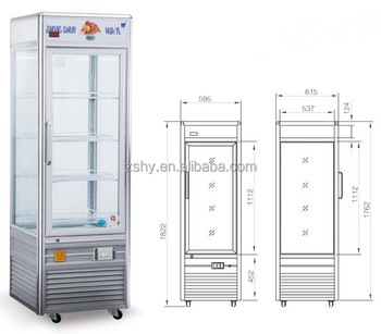 4-side Glass display Refrigerator(CE CERTIFICATION)