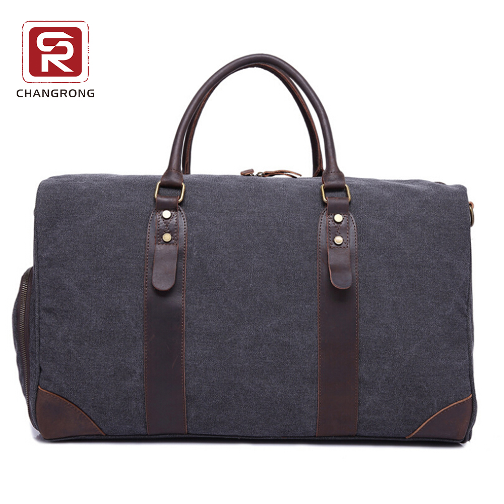 Canvas tote travel duffel bag with leather handle and should strap