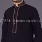 Mens Black shalwar kameez with embroidery on shoulders and collar