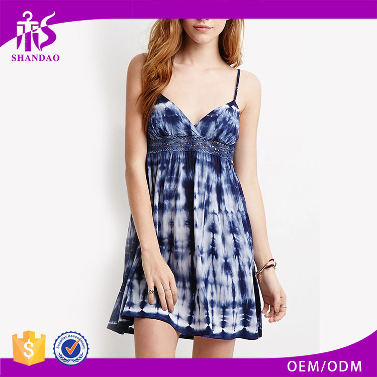Guangzhou OEM Gold Supplier Shandao Adjustable Spaghetti Strap Front Hollow Waist Back Elastic Dip Dye Modern Sexy Short Dresses
