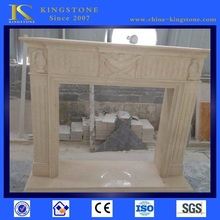 Cheap Chinese egyptian yellow marble fireplace with ethanol insert Designs