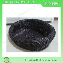 Black Large Willow Dog &Cat Bed Pet Basket with Cushion Oval Wicker Pet Basket Dog Cat Bed