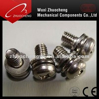 Assembled pan head machine screw with flat washer and spring washer