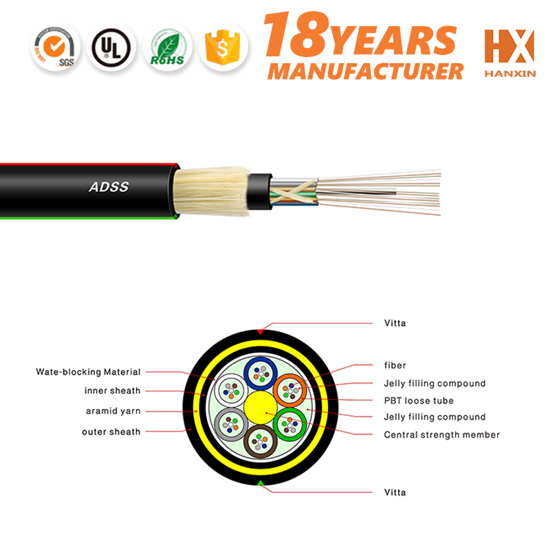 By OEM provider 2-24 cores SM 9/125 adss optical fiber cable