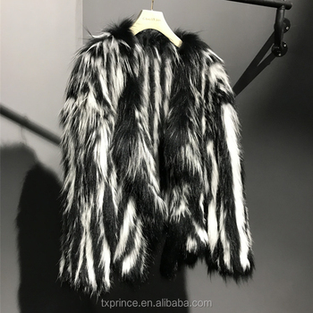 good quality new fashion knitted real racoon fur coat for lady