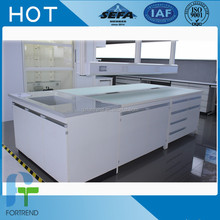2017 New Design China Manufacturer Laboratory Island Bench With Steel Structure,Lab Bench With Reagent Shelf