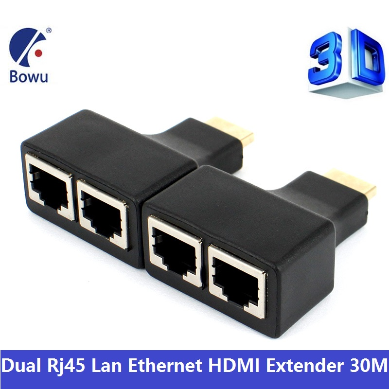 30M HDMI Extender Dual RJ45 Cat5e Cat6 UTP Lan Ethernet Adapter