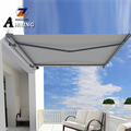 full cassette retractable awning with electric awning motor and awning hand crank
