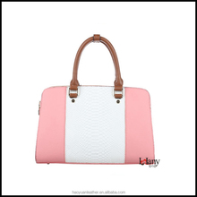 L-5217 Lelany girly pink and white python leather ladies handbag women hand bags