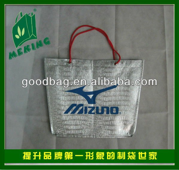 silver laser laminated non woven tote bag for cloth