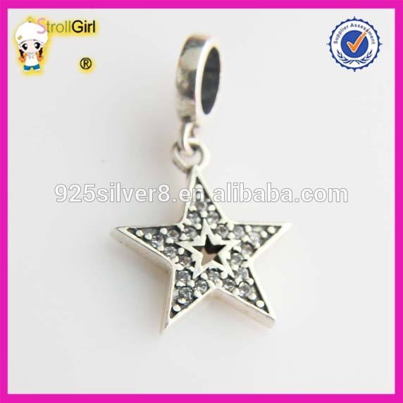 STAR Charm With Rhinestone S925 Sterling silver beads