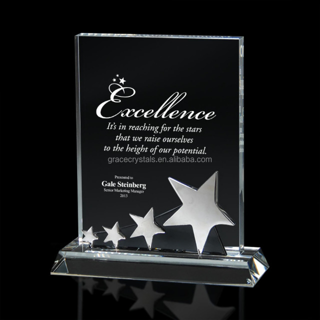 Star inlayed business crystal awards plaques crystal plaques and awards