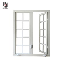 America style white /wood grain color aluminium crank awing window