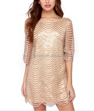 OEM Wholesale Women's Summer Gold Sequins Sexy Casual Prom Tube Evening Party Cocktail Dress