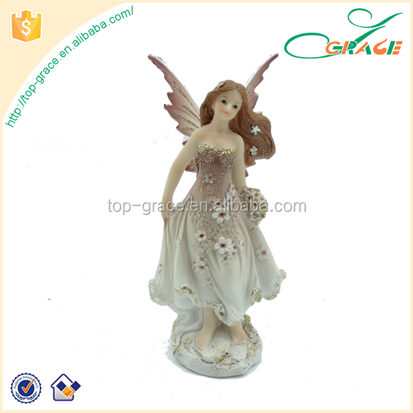 fashionable new style resin flying fairy figurines with plastic wings