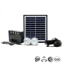Portable LED mini solar lighting system with 2W bulbs