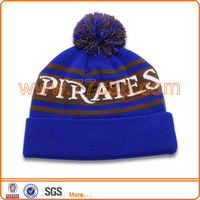 Hot Sales Custom Knitted Beanies Winter Skiing Hat with Pom Pom