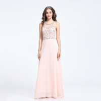 V-1105 light pink beads with chiffon full lenght spoon neckline elegance cocktail dress 2016