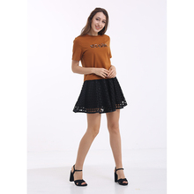 YILEYA summer casual bead t-shirt, short skirt loose crop top for women