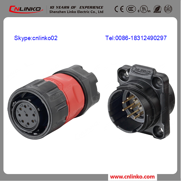 Cnlinko hot selling 24v power pin connector 26-24 gauge wire connectors waterproof ip67 cable connector